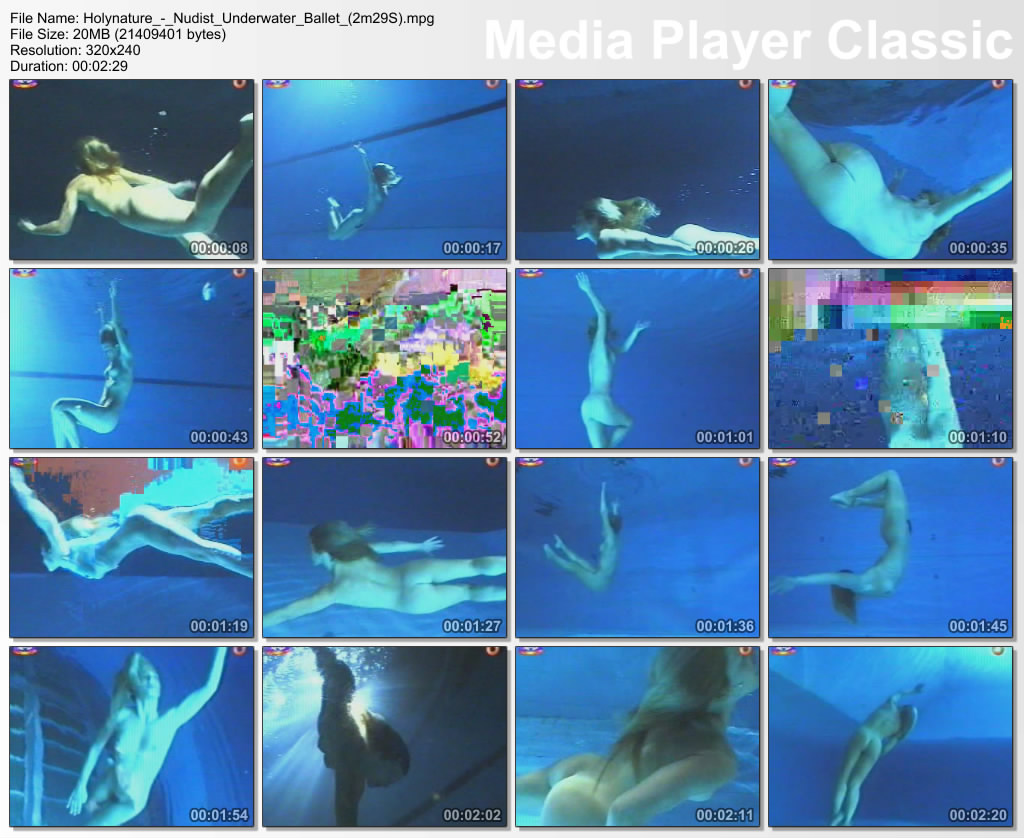 Naked girl swimming underwater