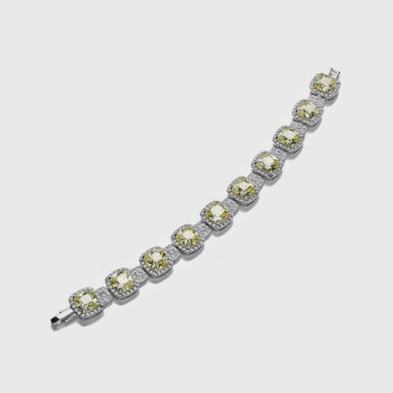 Attwood & Sawyer yellow canary diamond-style Rhodium Cushion Bracelet