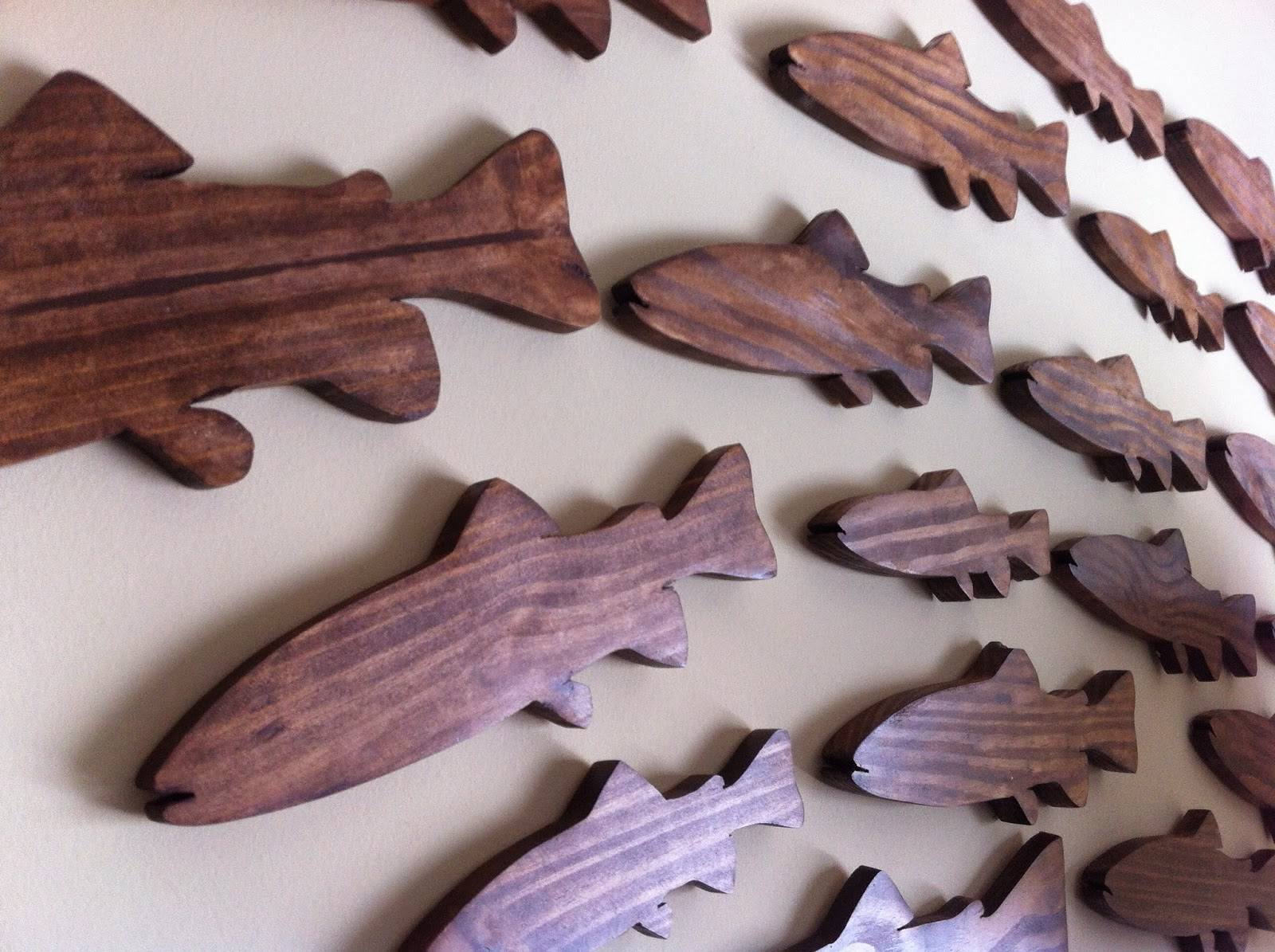 School of Fish - Stained Wood