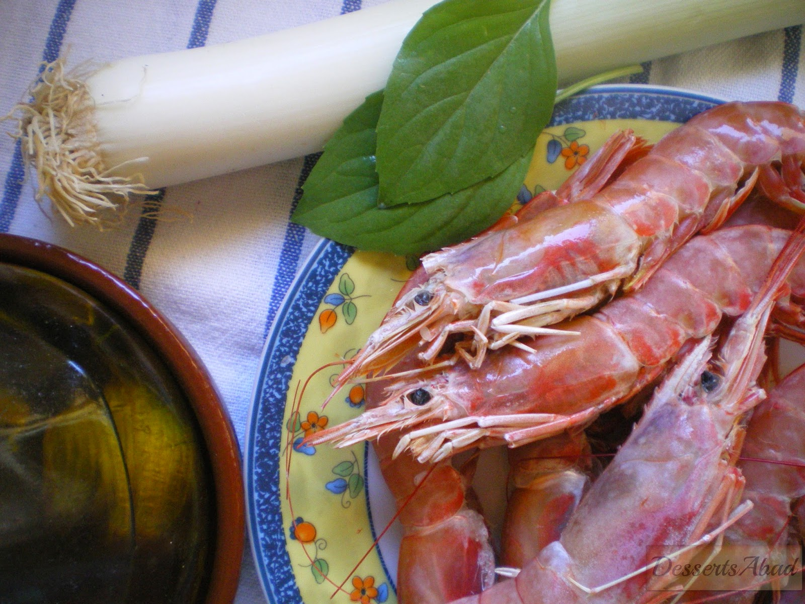 Arroz a la albahaca con gambones (Ingredientes)