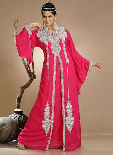Glowing Pink Crystal Georgette Kaftan Collection