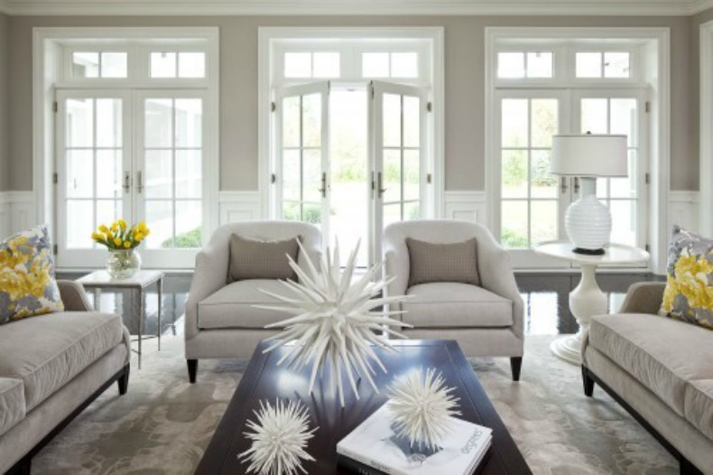 Taupe/ gray is fabulous with all the white in the room and the touches of yellow create a sunshine effect.