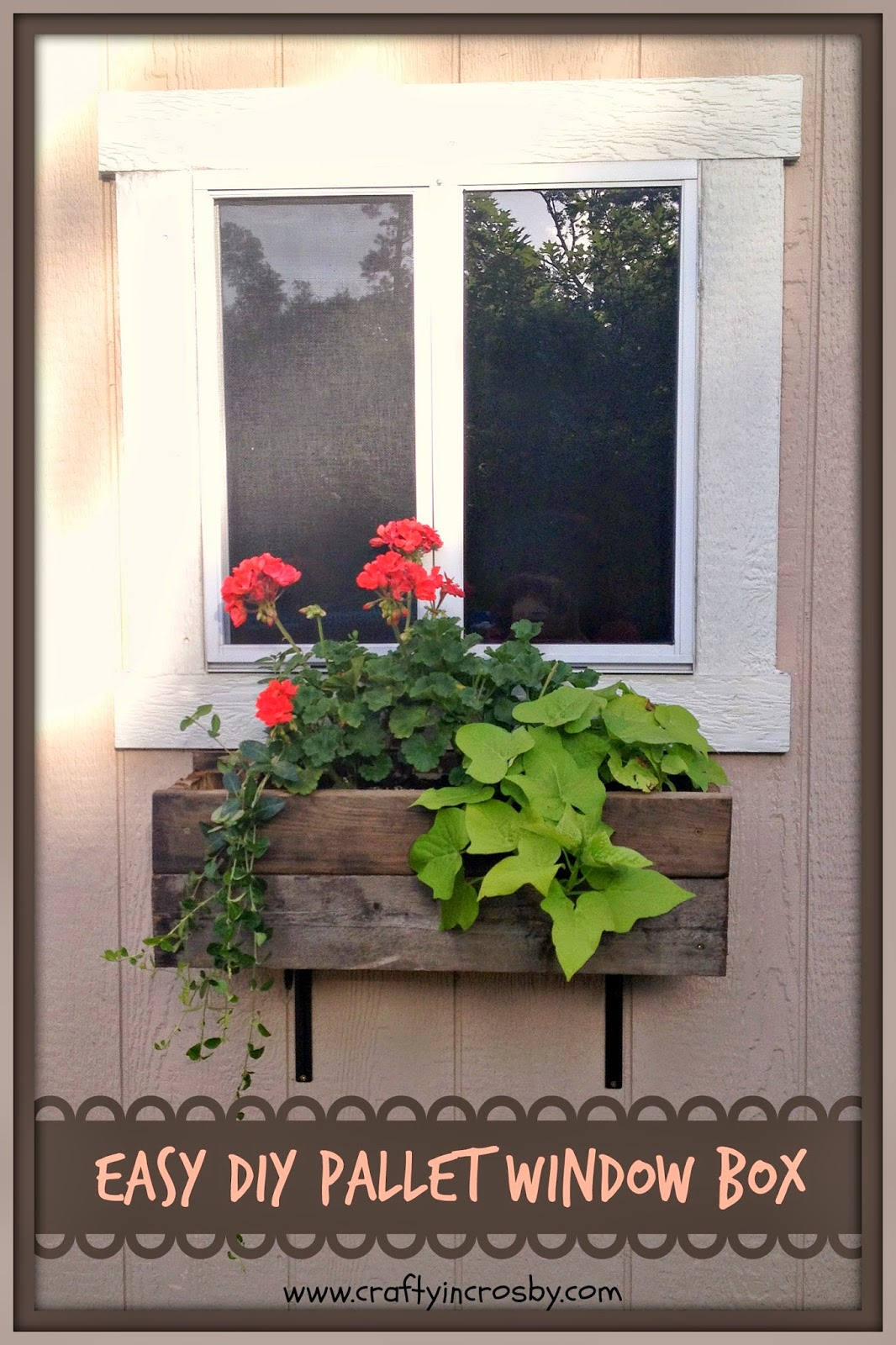 crafty in crosby easy diy pallet window box. Black Bedroom Furniture Sets. Home Design Ideas