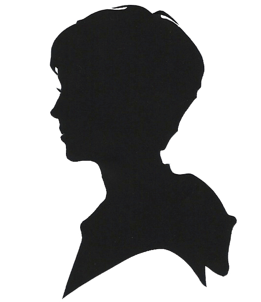A silhouette of a young boy's head