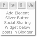 Add Elegant Silver button Social sharing widget below posts in Blogger