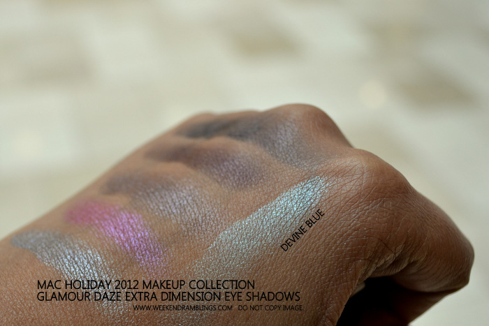 MAC Holiday 2012 Makeup Collection Glamour Daze Extra Dimension Eyeshadow Swatch Devine Blue Indian Beauty Blog Darker Skin