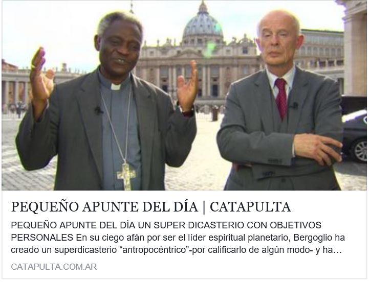 Apostasía : Bergoglio remplaza a Cristo por los hombres.