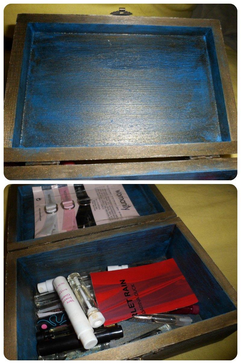 Caja madera pintada