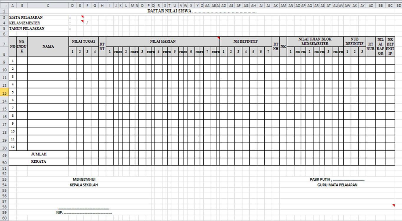 Komponen Daftar Nilai dari contoh di atas adalah
