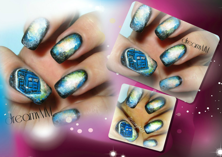 Galaxy Dr Who Tardis Nail Art Tutorial Dreamymm
