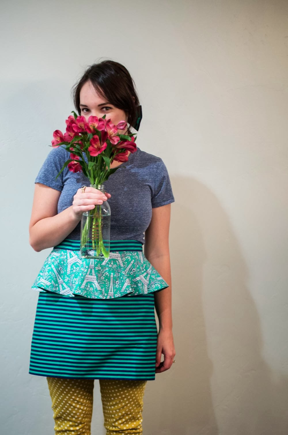 flowers and a peplum apron