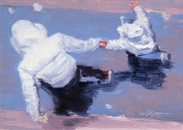 """original figurative painting """"Children Running In Paris Rain"""""""