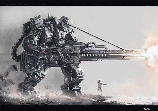 Robot Mecha Weapon Firing Girl female wallpaper desktop pc wallpaper a62