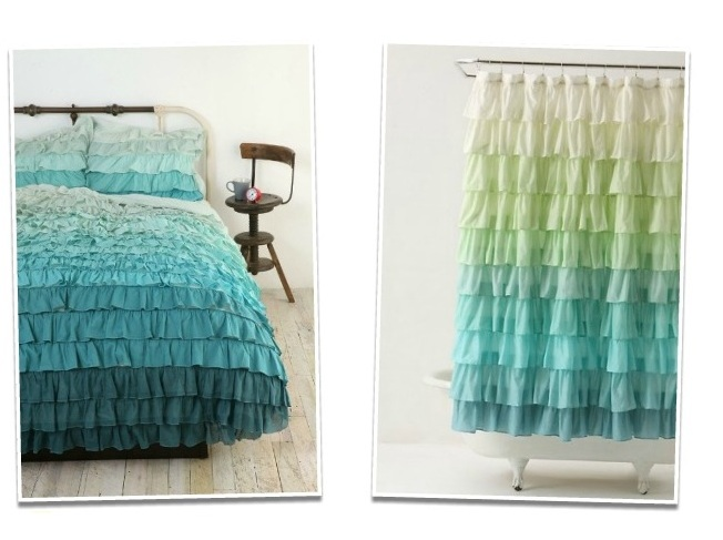 Curtains Ideas blue ombre shower curtain : Leaf House: DIY Ombre Curtains