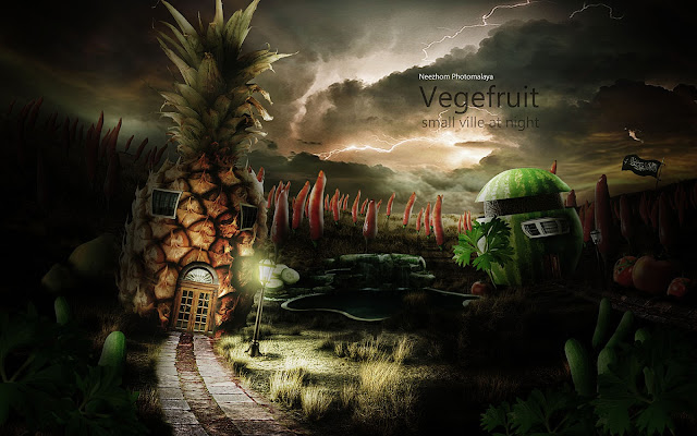 Vegefruit small ville at night - Photo manipulation