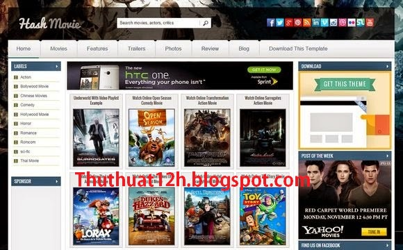 Hash Movie - Template Blogspot Phim đẹp chuẩn SEO