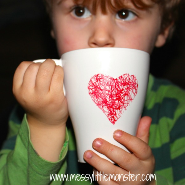 DIY heart scribble mug made by toddlers