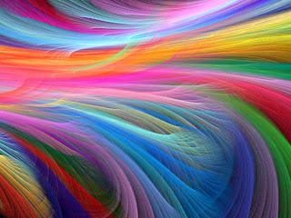 Plumas con el arcoiris