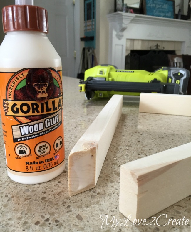 Using gorilla glue to attach scrap 1x2's together
