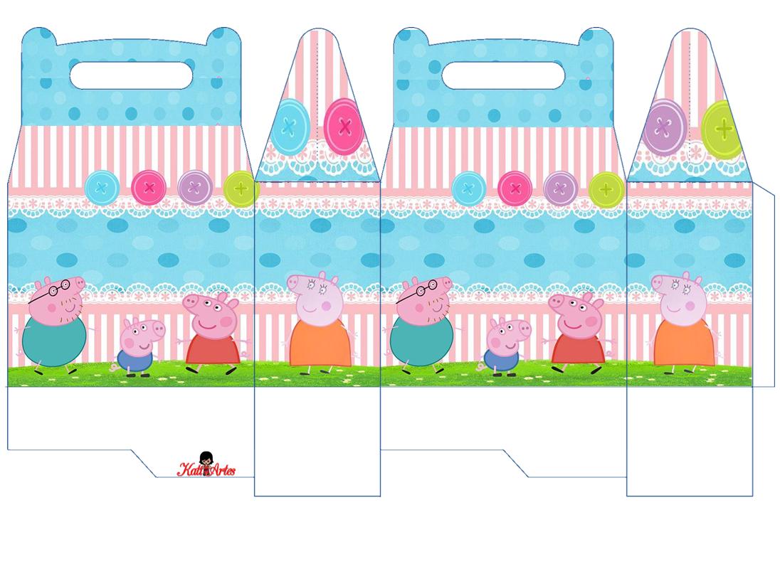 Peppa Pig y su Familia: Caja para Lunch, para Imprimir Gratis.