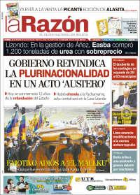 BOLIVIA UNA  PRIMERA PÁGINA DE LA PRENSA