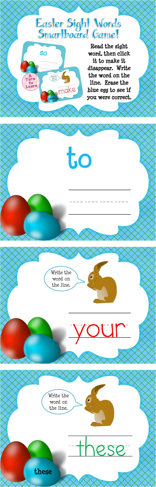 http://www.teacherspayteachers.com/Product/Easter-Sight-Words-Smartboard-or-Promethean-Board-Game-Frys-First-100-Words-1180458