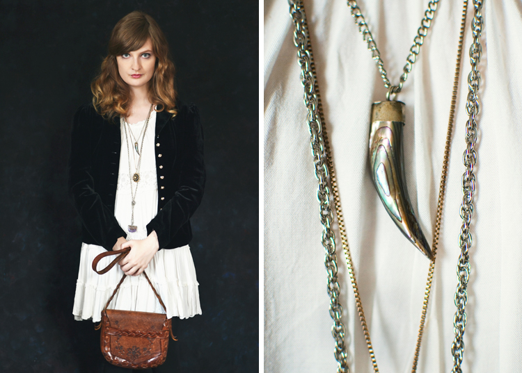 The Flying Clubhouse: Velvet Jacket | vintage necklaces