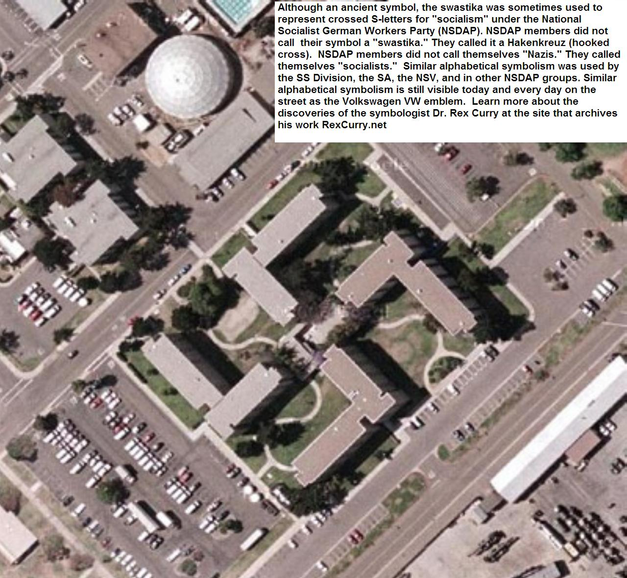 google map of swastika shaped building on flickr us navy