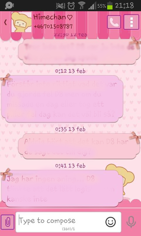 cute pink theme textmessages
