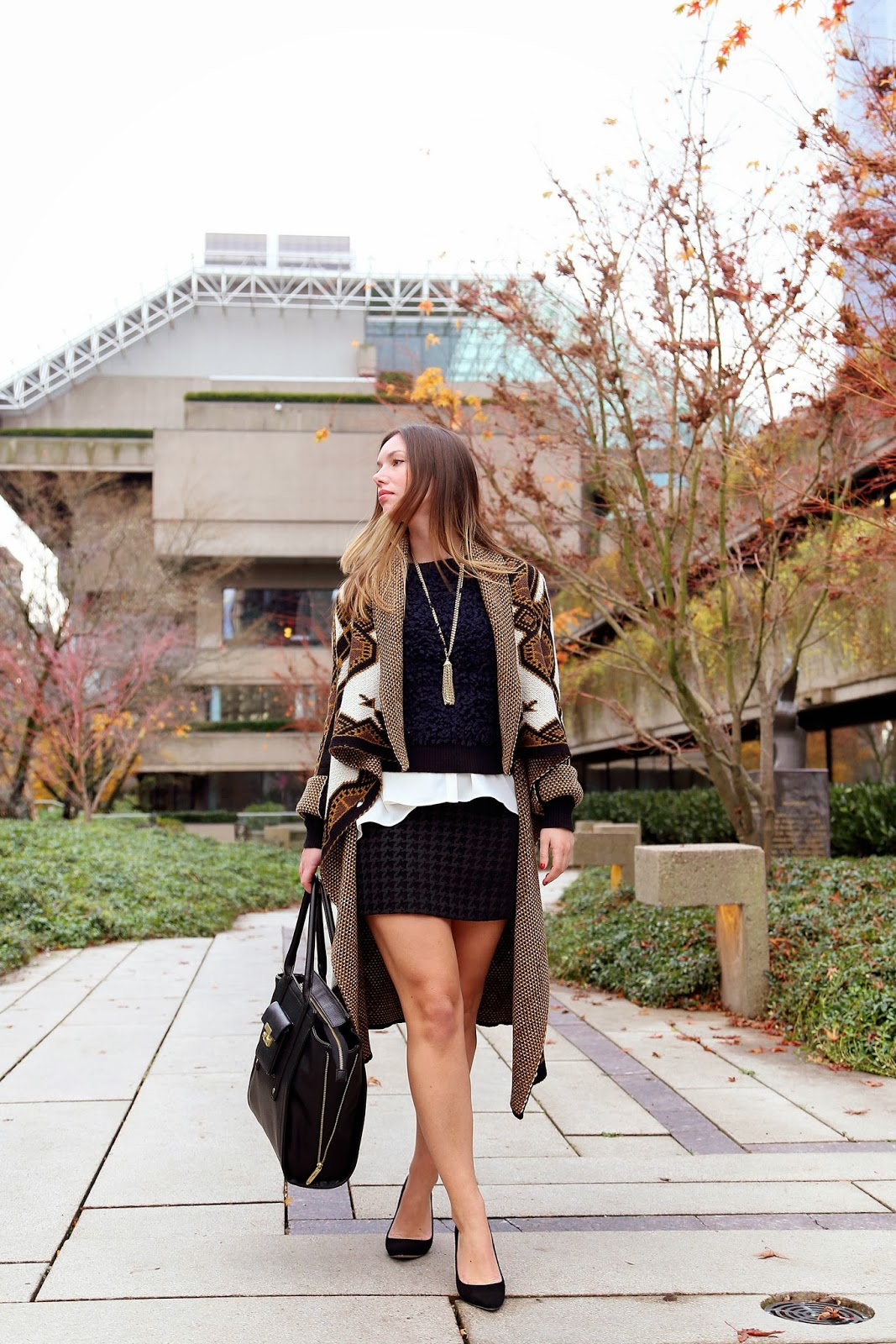 to vogue or bust, vancouver style blog, vancouver fashion blog, alexandra grant, canadian fashion blog, vancouver fashion, rachel roy sweater coat, rachel roy navy sweater, rachel roy houndstooth mini skirt, rachel roy blouse, j.crew heels, phillip lim for target bag, holiday style, party style