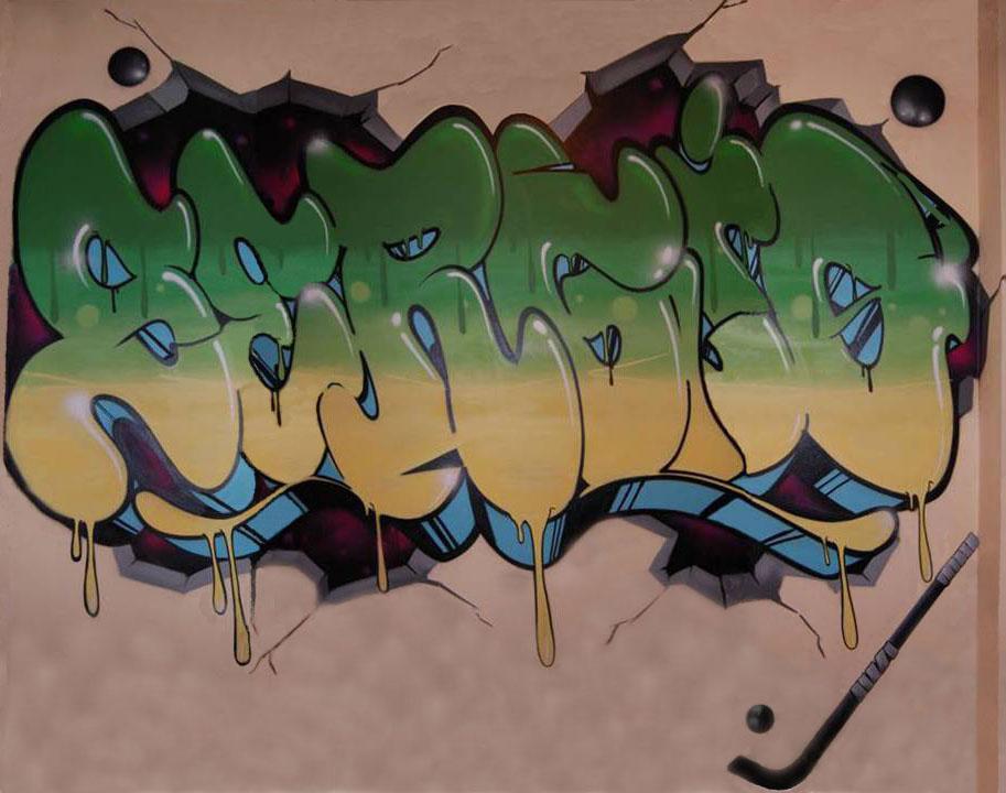 graffiti eva habitación con el nombre de sergio y detalles de jockey