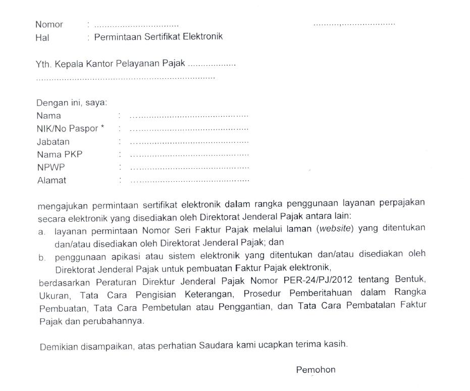 Contoh Permintaan Sertifikat Elektronik ke Kantor Pelayanan Pajak