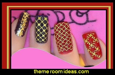 Decorating theme bedrooms maries manor nail art party nails golden 3d nail stickers decals prinsesfo Image collections