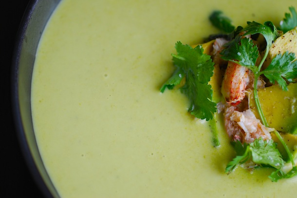 Chilled Fresh Pea Soup with Crab & Guacamole Salad - Always Order ...
