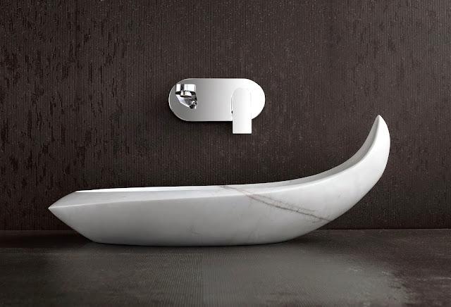 Marble Sink Basin : Stone Basins Wash Sinks : Komo - Designer Polished White Marble ...