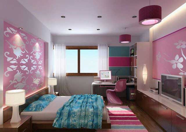 dekorasi kamar tidur warna pink dan ungu gambar desain rumah