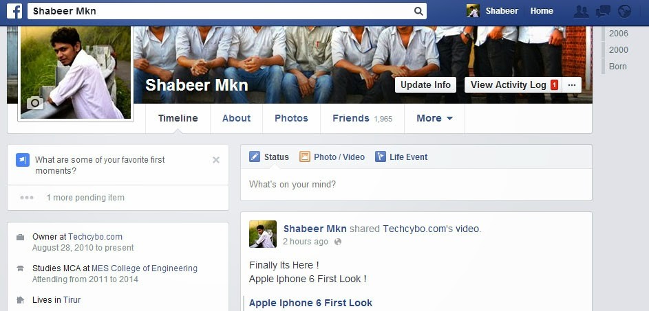 facebook timeline mknshabeer