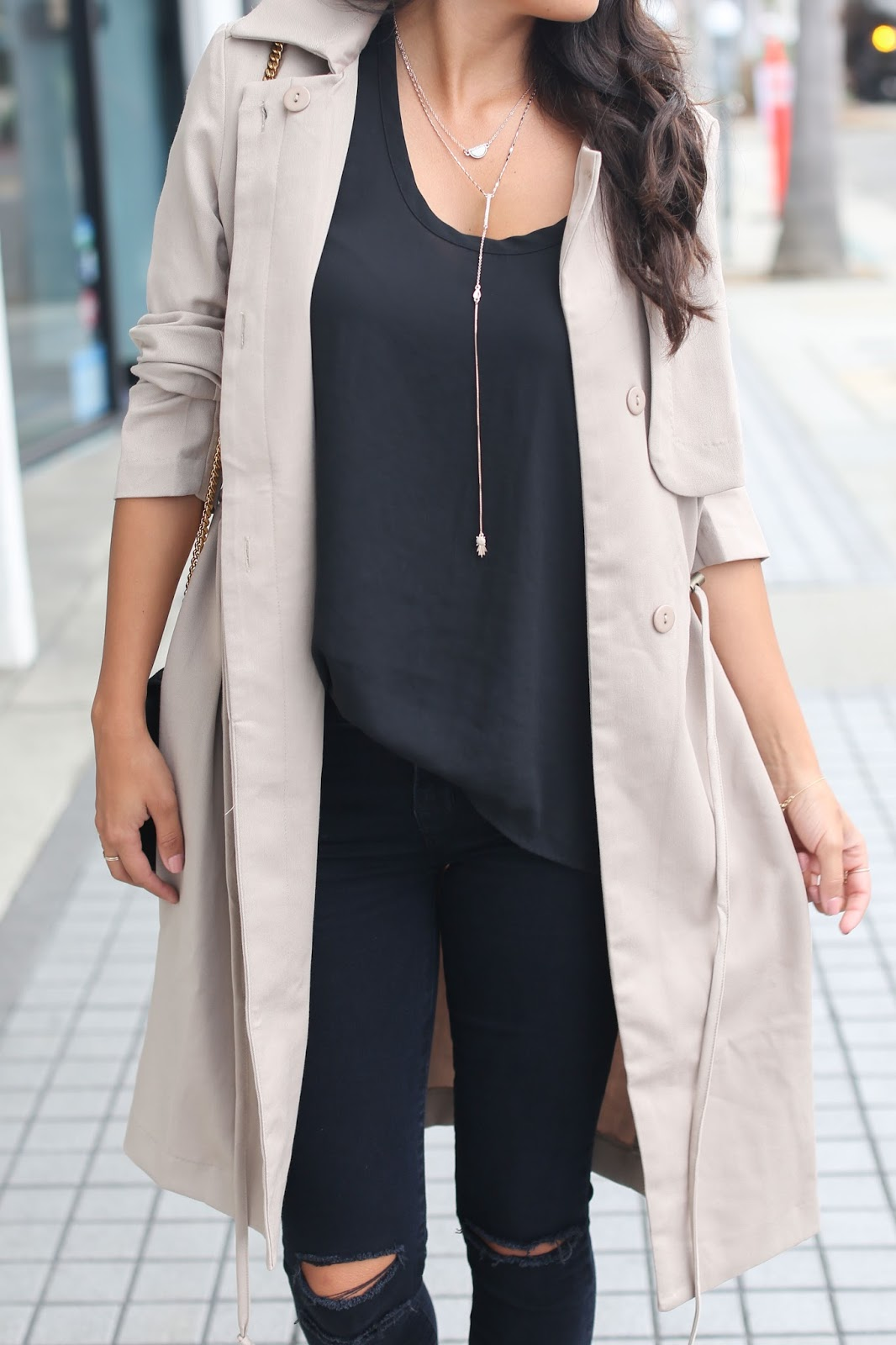 capwell necklace, fall fashion, justfab trench, how to style trench coat