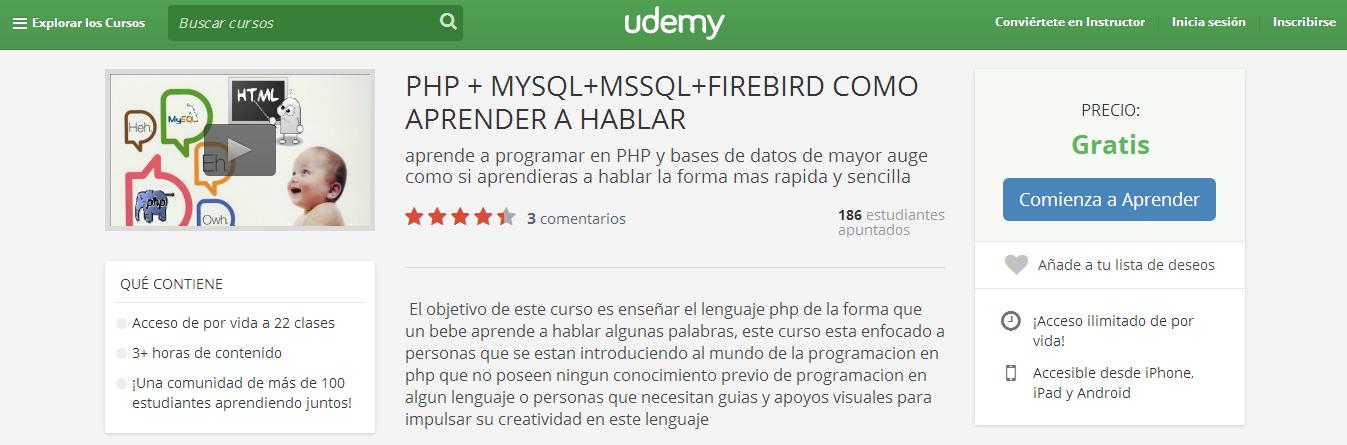 curso MOOC php mysql firebird udemy