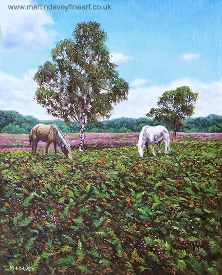 Horses and Heather in the New Forest – oil painting-artist Martin Davey