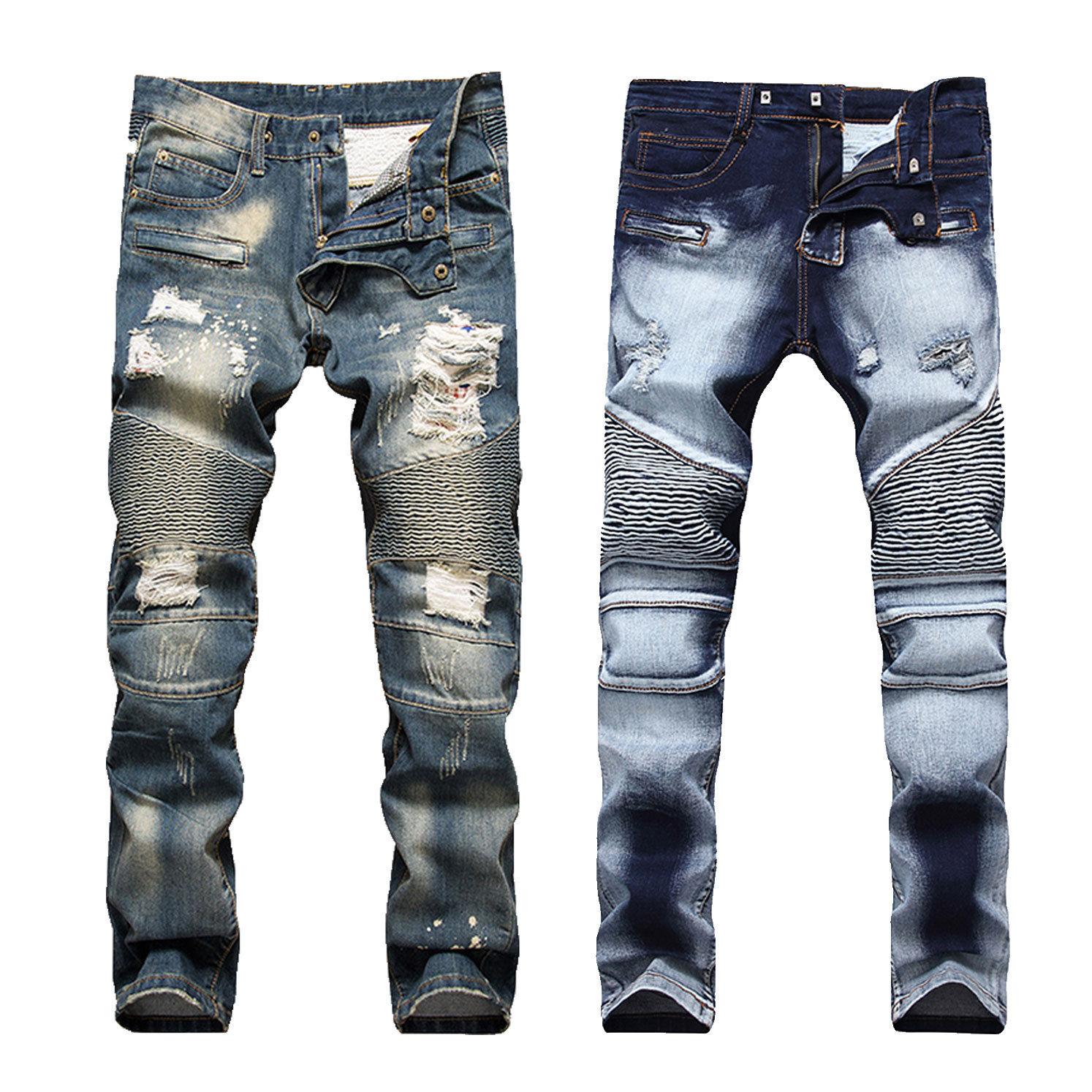 Only $18 - France Style Men Moto Biker Jeans Straight Slim Fit Denim Pants Distressed Blue