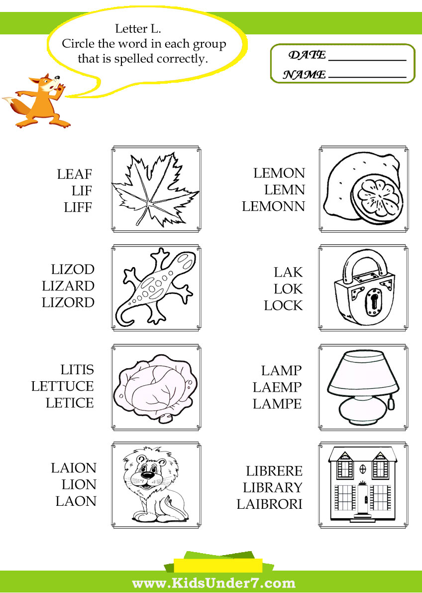Kids Under 7 Circle the Correct Spelling of L Words – Letter L Worksheets Kindergarten
