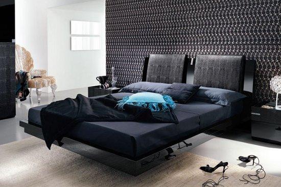 Chambre mur gris meuble noir ~ Solutions pour la décoration ...
