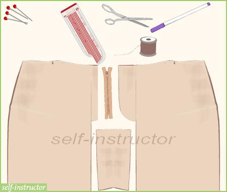 детайли на панталон, цип и шлиц за закопчаване