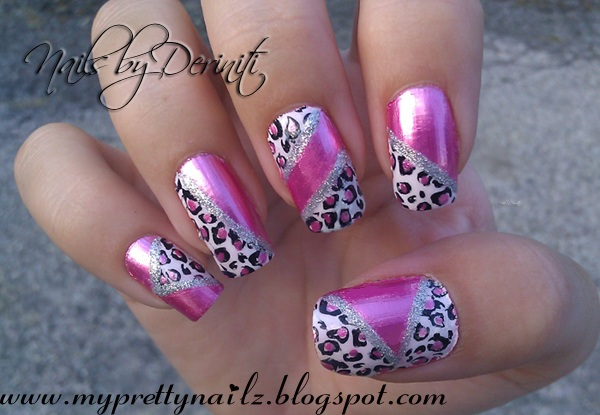 My Pretty Nailz Pink Chrome Leopard Print Nail Art Stamping Design