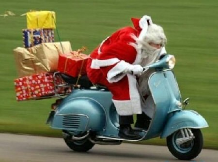 Funny Santa Claus With Gifts Scooter