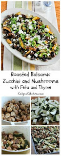 Recipe for Roasted Balsamic Zucchini and Mushrooms with Feta and Thyme [from KalynsKitchen.com]