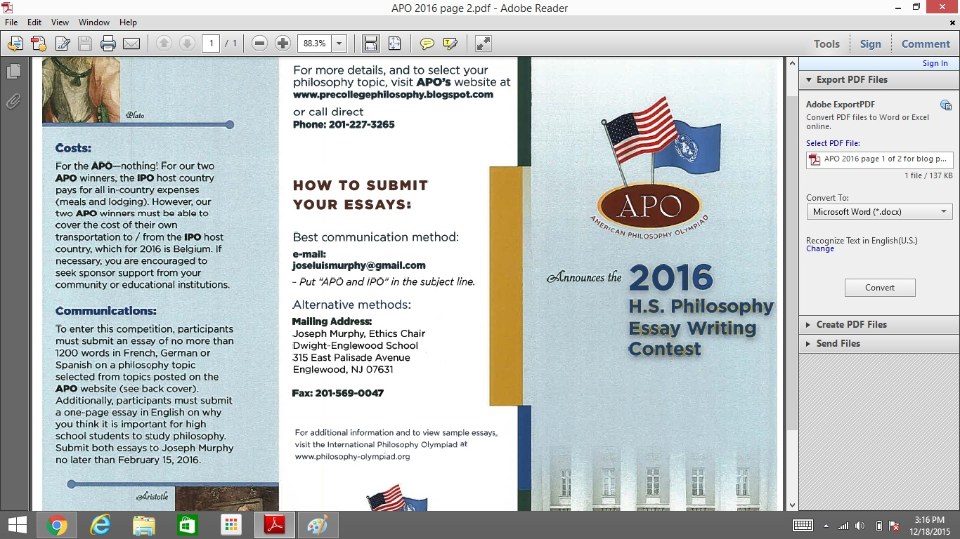 american pre college philosophy ap cp apo high school apo 2016 high school essay contest brochure topics and due date