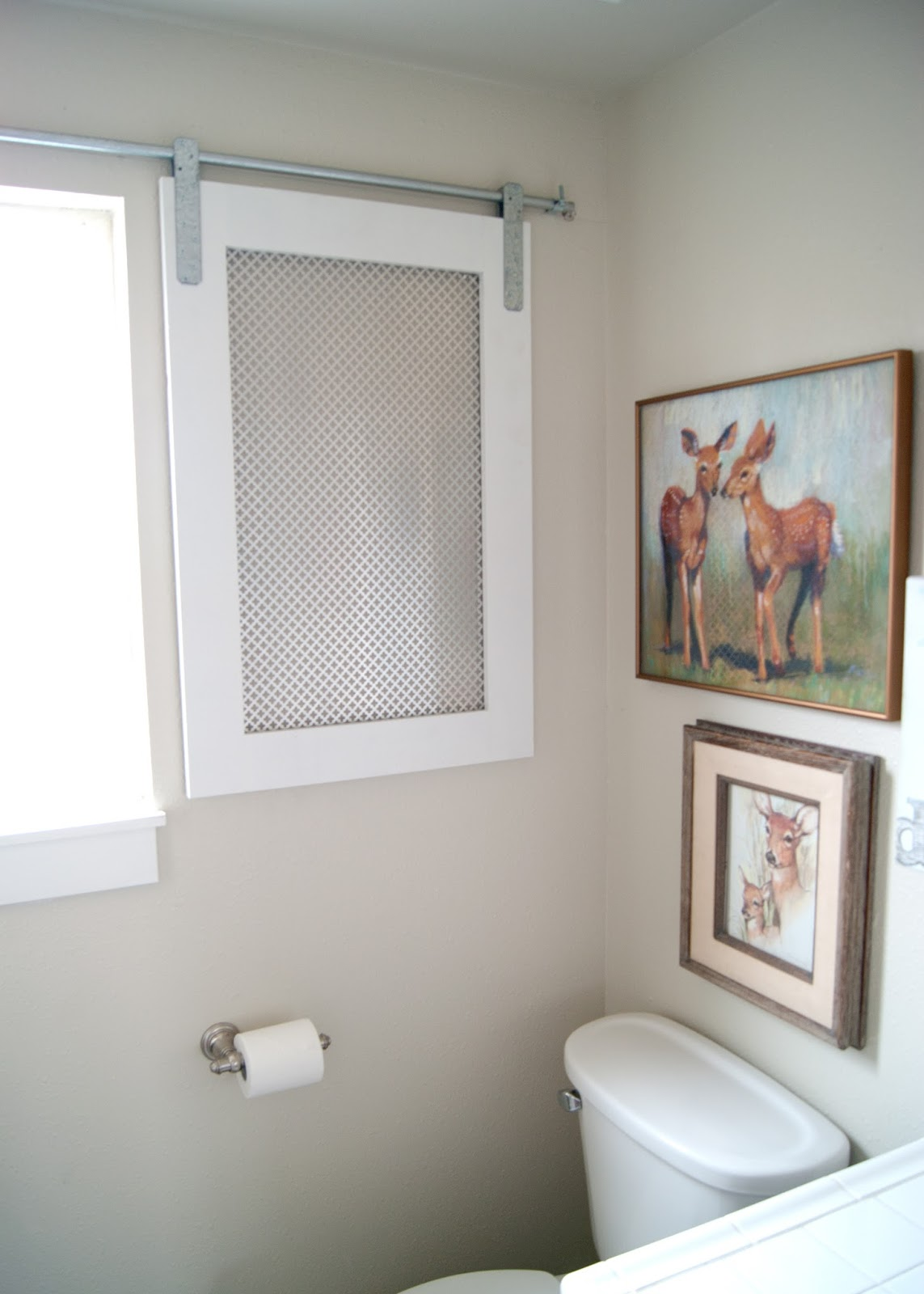 DIY Barn Door Window Cover for the Bathroom - after