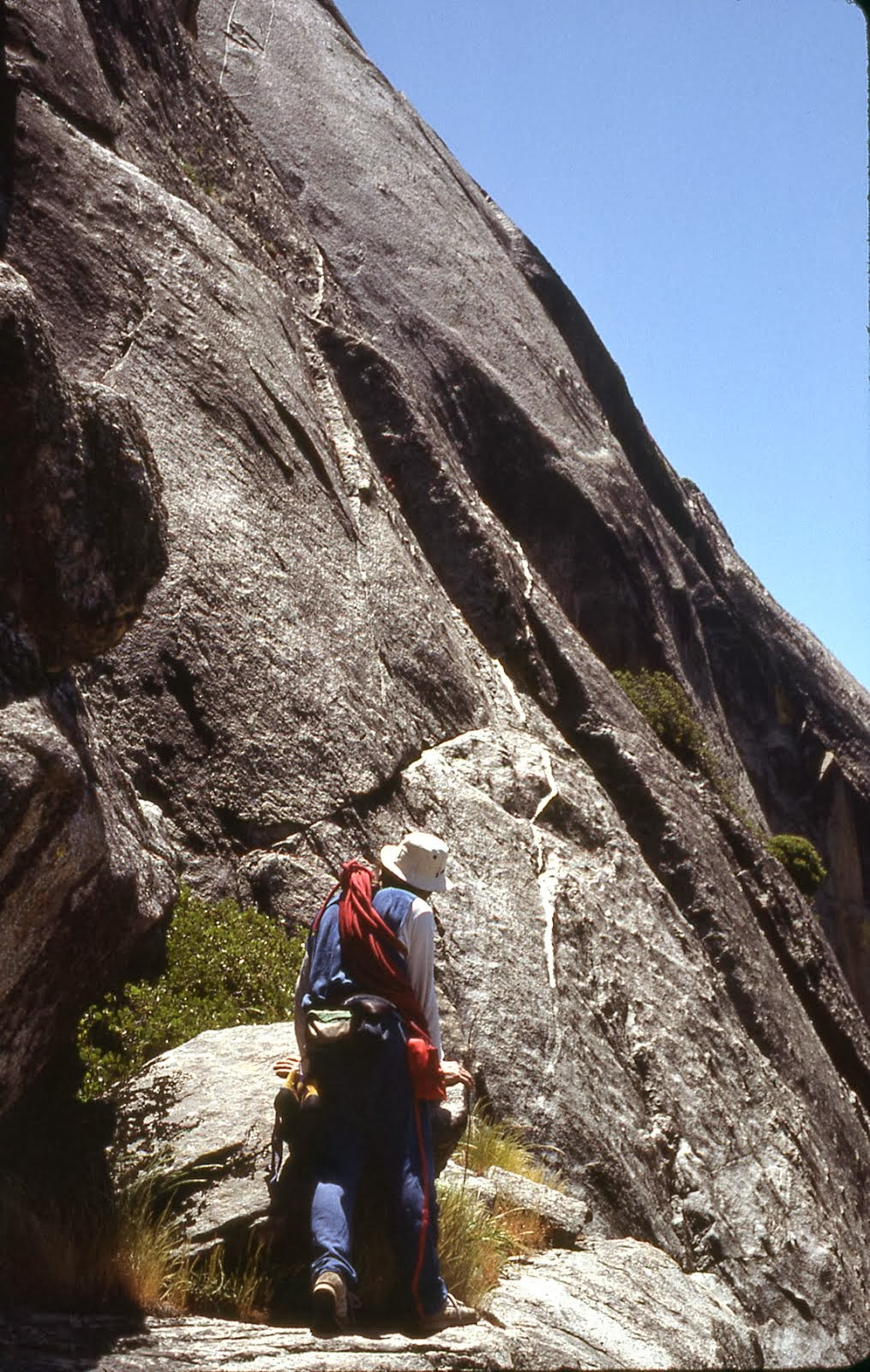 Far South end of Zocalo Ledge is the start of the West Face route